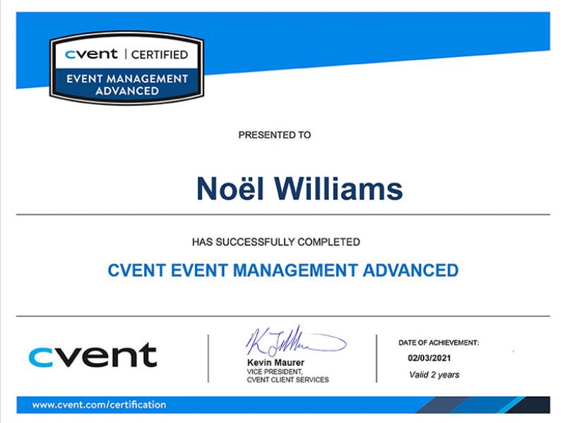 Cvent-Event-Management-Advanced-Certification-Noël-Williams