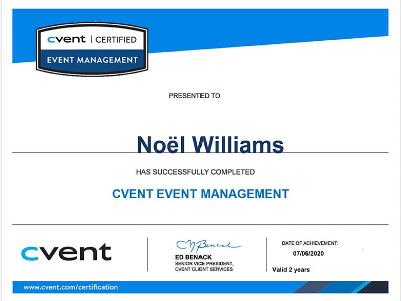 Cvent Event Management Certificate Noël Williams